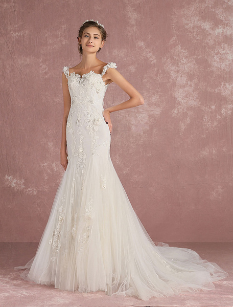 Milanoo Mermaid Wedding Dress Luxury Bridal Dress Ivory Tulle Lace Applique Sweetheart Straps Beading Flower Bridal Gown With Train