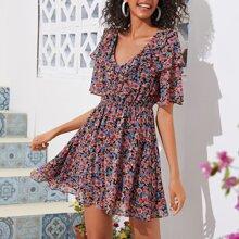 Kleid mit Raffungsaum und Blumen Muster