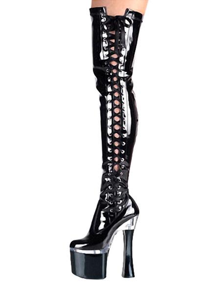 Milanoo Botas de tacon alto sexy Zapatos de stripper con cordones Tacon de carrete Rave Club Botas altas de muslo negro Botas sobre la rodilla