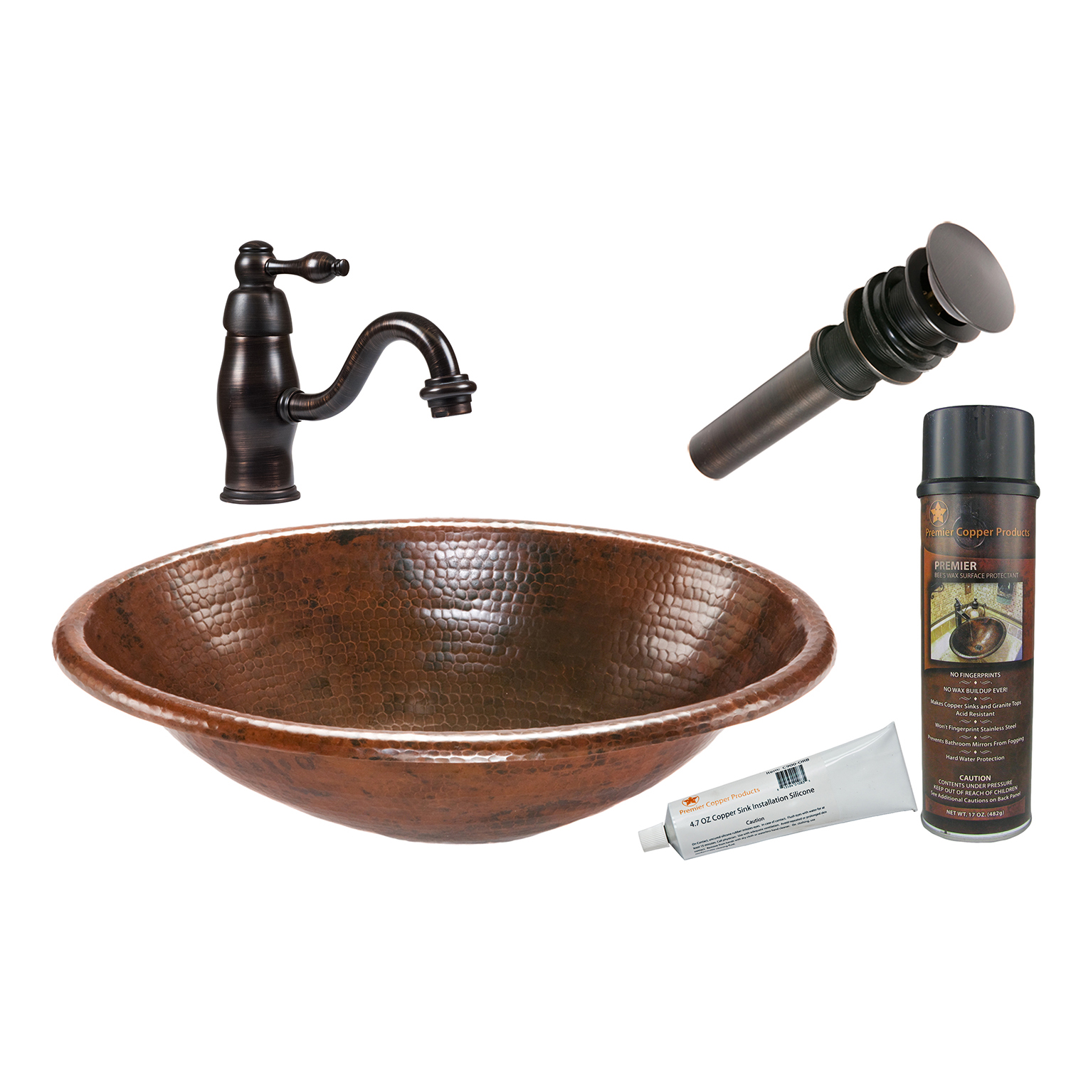 Oval Self Rimming Hammered Copper Sink, Faucet and Accessories Package, Oil Rubbed Bronze