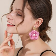 Faux Pearl Decor Flower Design Drop Earrings