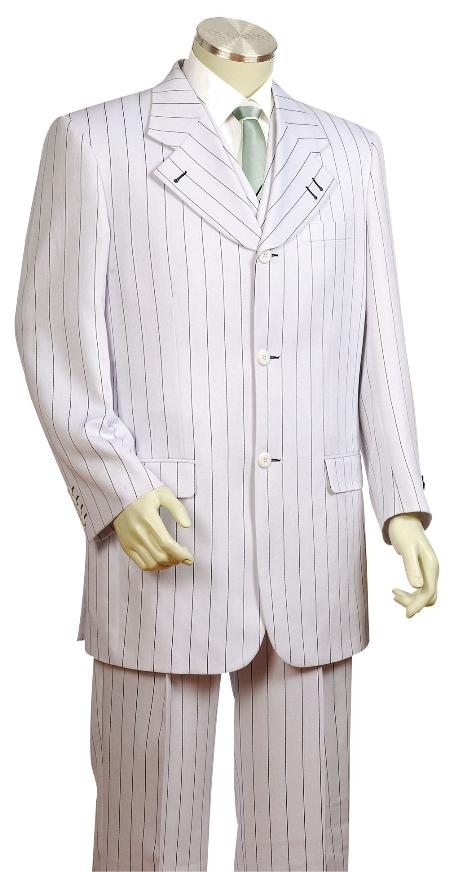 3 Piece 3 Button White Black Pinstripe Vested Zoot Suit Mens