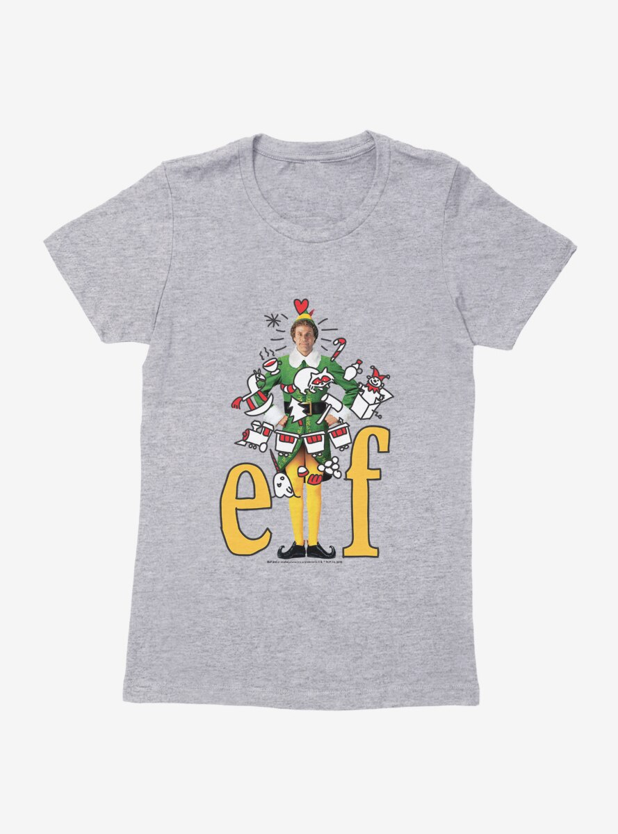 Elf Yellow Logo With Icons Womens T-Shirt