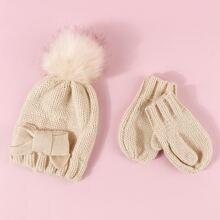 1 Stueck Kleinkind Muetze mit Schleife & 1 Paar Handschuhe