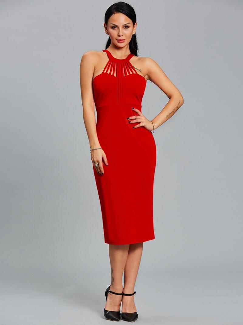 Ericdress Halter Design Sleeveless Plain Sheath Dress