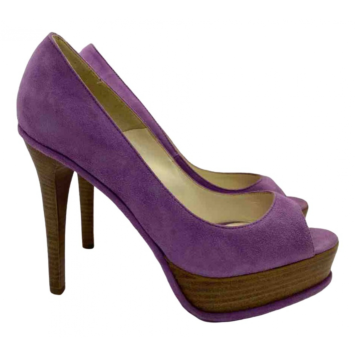 Brian Atwood \N Purple Suede Ankle boots for Women 37 EU