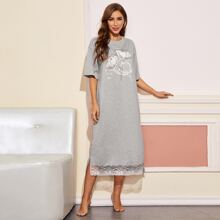 Floral and Slogan Graphic Lace Hem Nightdress
