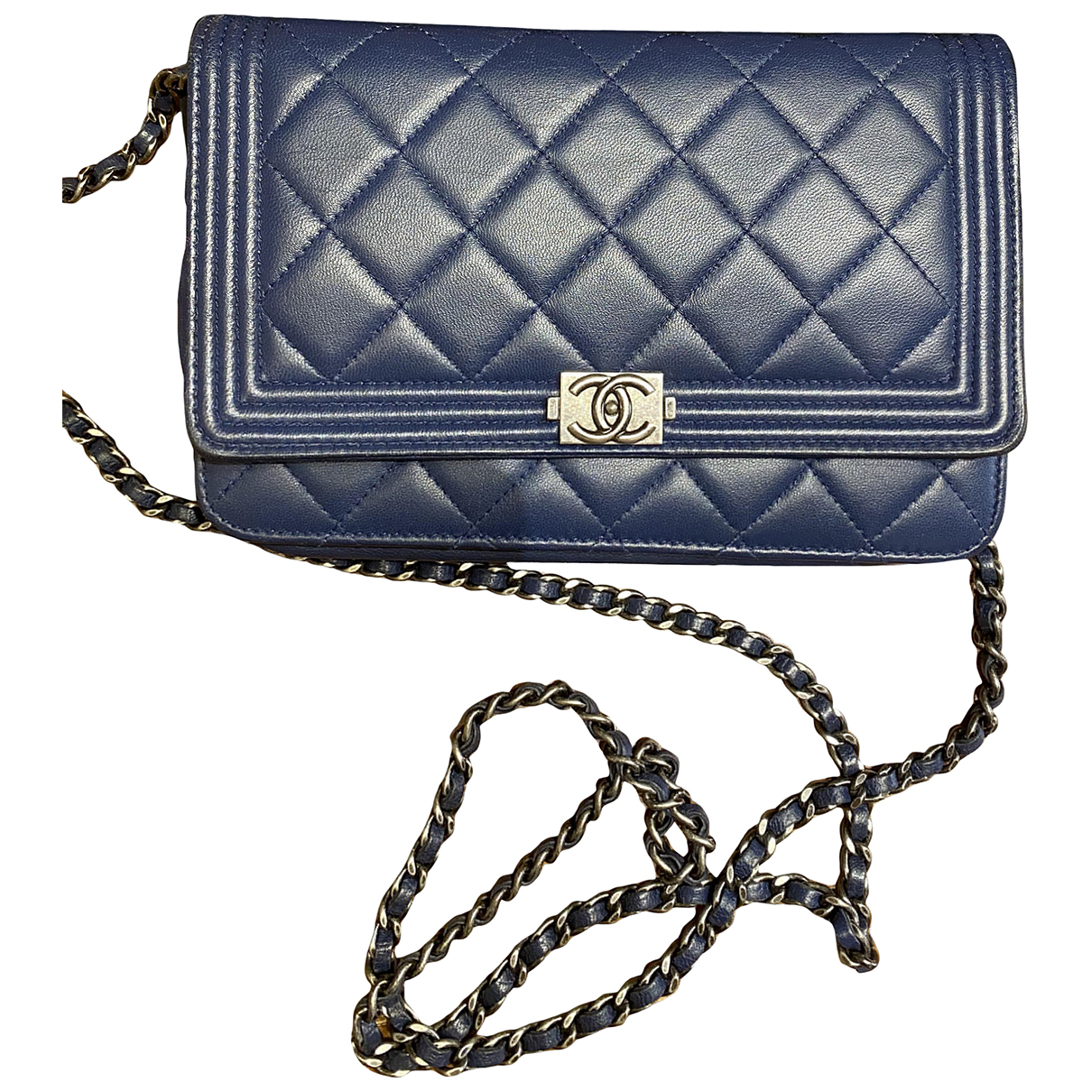 Chanel Wallet on Chain Blue Leather handbag for Women \N