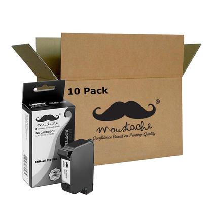 Compatible HP 45 51645A/D Black Ink Cartridge - Moustache - 10/Pack