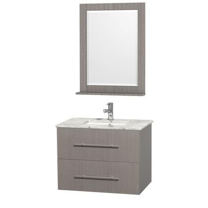 WCVW00930SGOCMUNDM24 30 in. Single Bathroom Vanity in Grey Oak with White Carrera Top with Square Porcelain Undermount sink and 24 in.