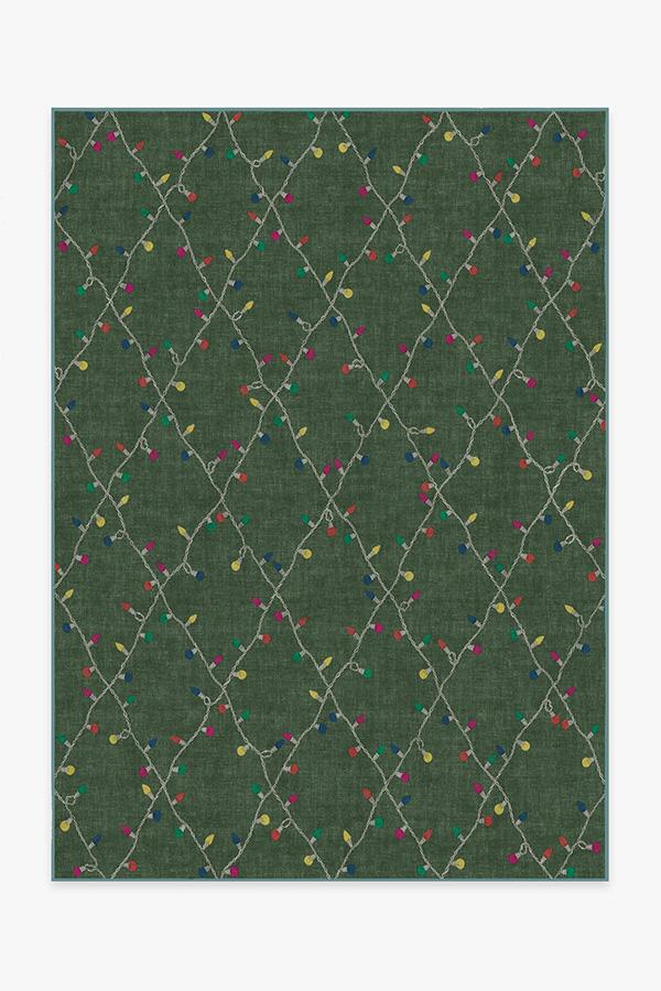 Washable Rug Cover & Pad | Holiday Lights Green Rug | Stain-Resistant | Ruggable | 5'x7'