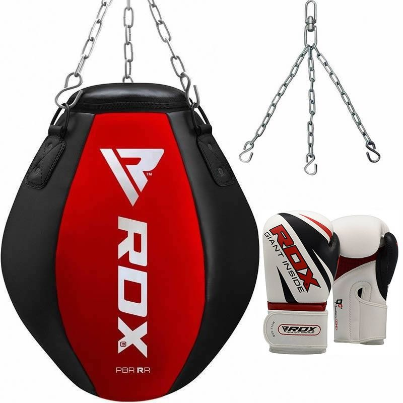 RDX RR Wrecking Ball Training Punch Bag Unfilled Hanging with 12oz Gloves