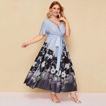 Plus Floral Print Wrap Belted Dress