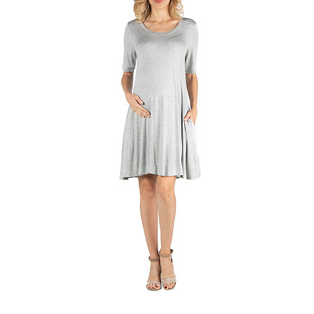 24/7 Comfort Apparel Soft Flare T-Shirt Dress with Pockets, X-large , Gray