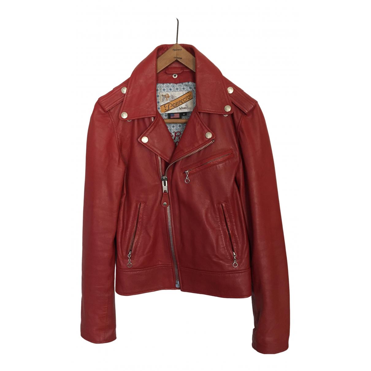 Schott - Blouson   pour femme en cuir - rouge