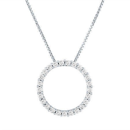 Womens 1/3 CT. T.W. Genuine Diamond 10K White Gold Pendant Necklace, One Size , No Color Family