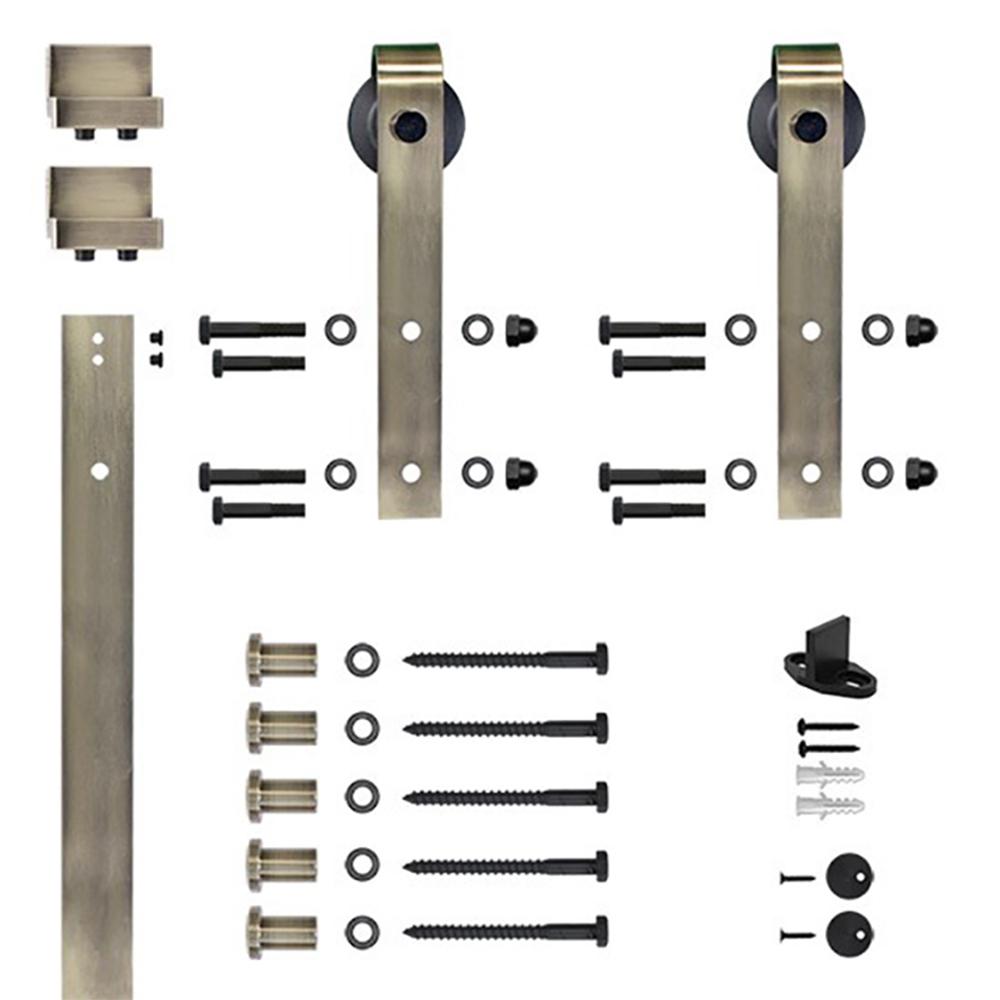 6.6 Ft. Antique Brass Hook Strap Rolling Door Hardware Kit for Wood Door