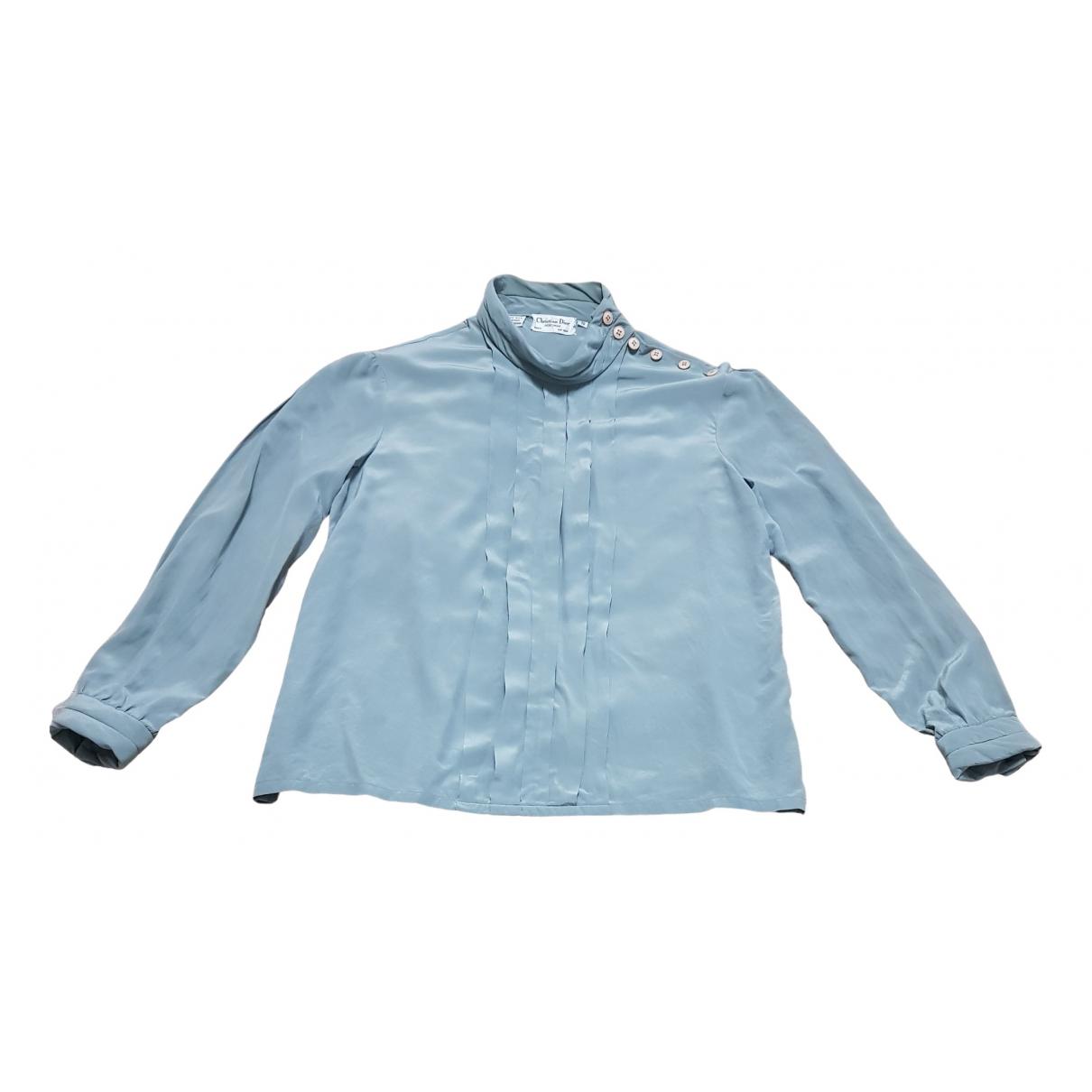 Dior - Top   pour femme en soie - bleu