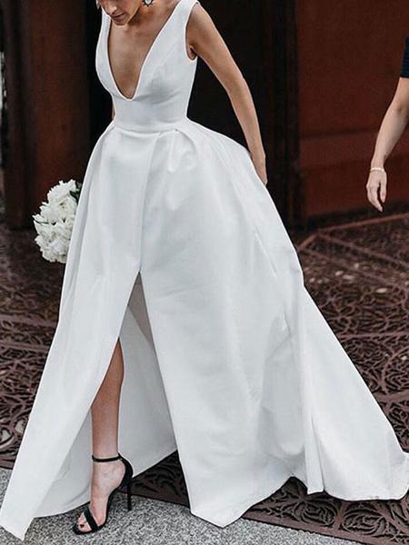 Milanoo Vestidos de novia vintage Cuello en V Sin mangas Cintura natural Tela de raso Vestidos de novia plisados con tren