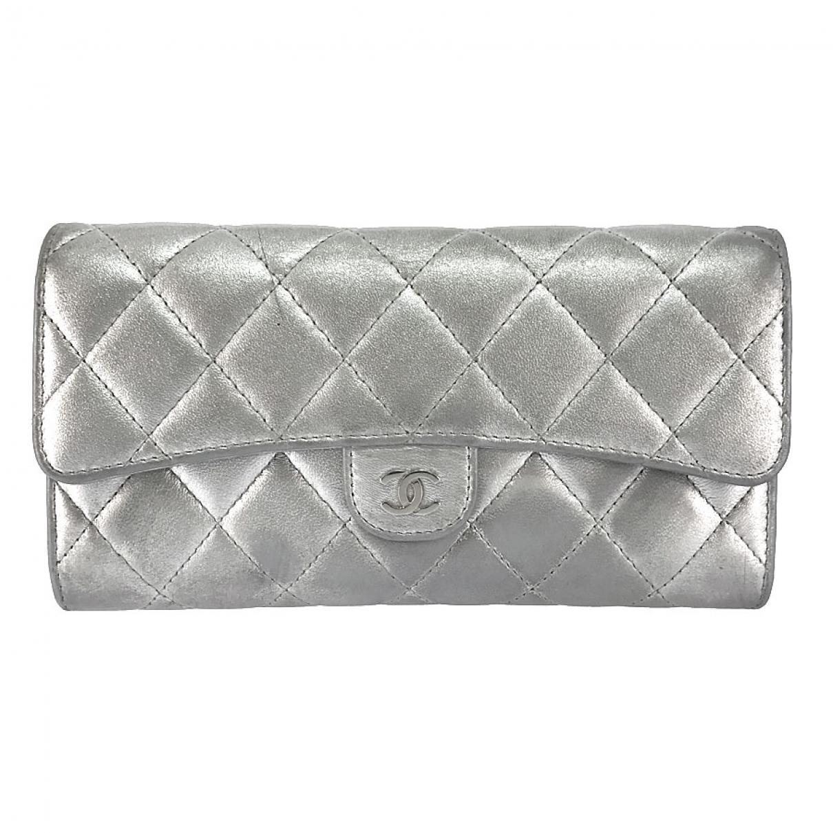 Chanel - Portefeuille Timeless/Classique pour femme en cuir - argente