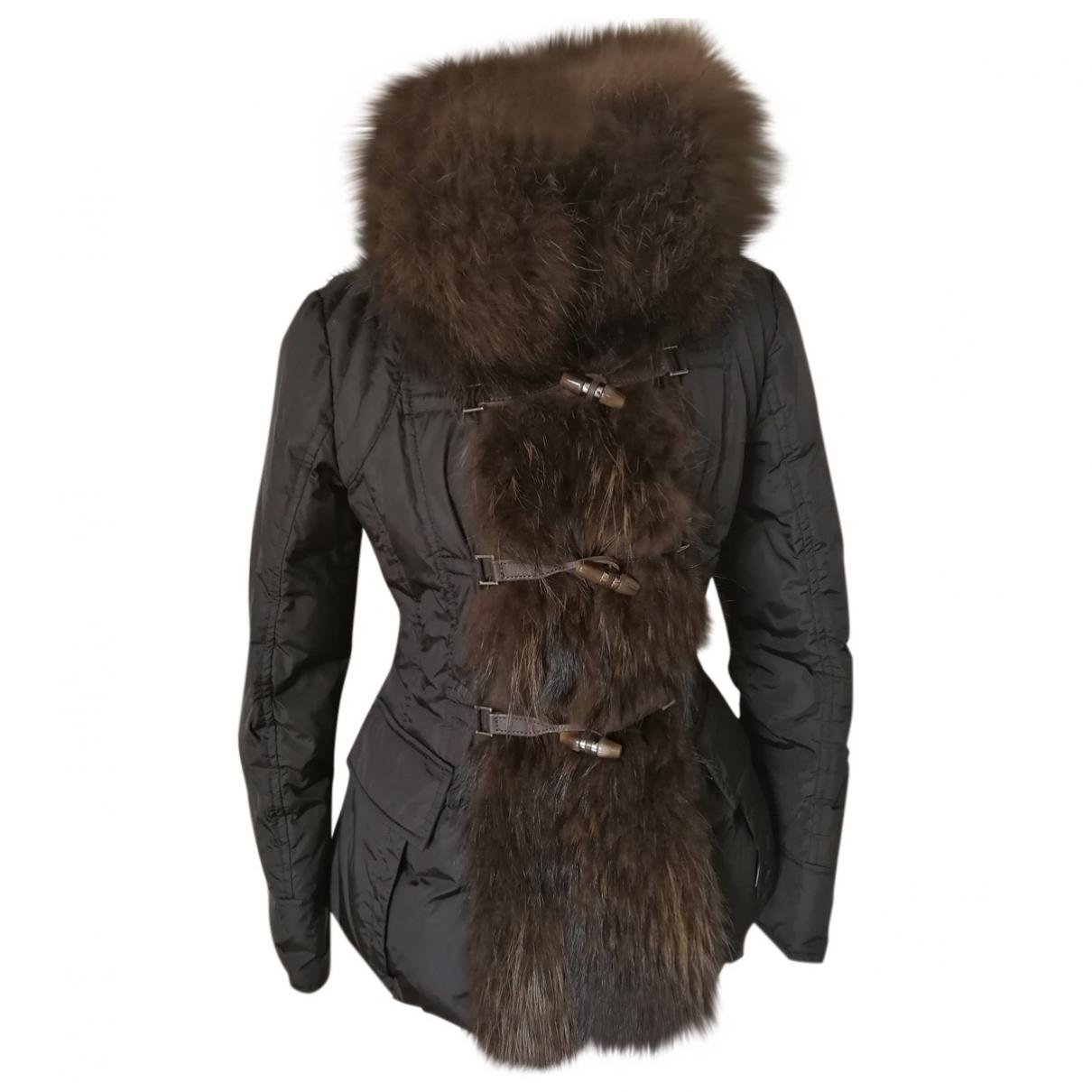 Moncler Fur Hood Black Raccoon coat for Women 36 FR