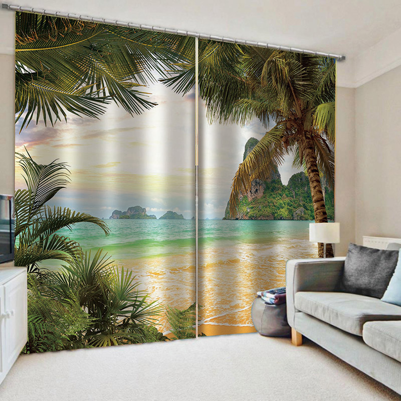 3D Summer Sea Decoration Blackout Curtains for Living Room No Pilling No Fading No off-lining Drapes Blocks Out 80% of Light and 90% of UV Ray
