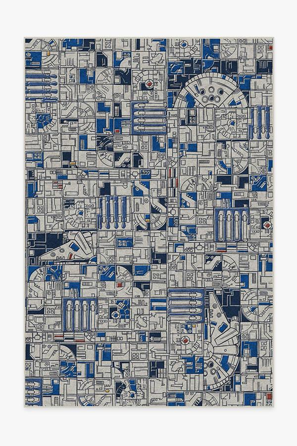 Washable Rug Cover | Smugglers Geo R2D2 Blue Rug | Stain-Resistant | Ruggable | 6x9