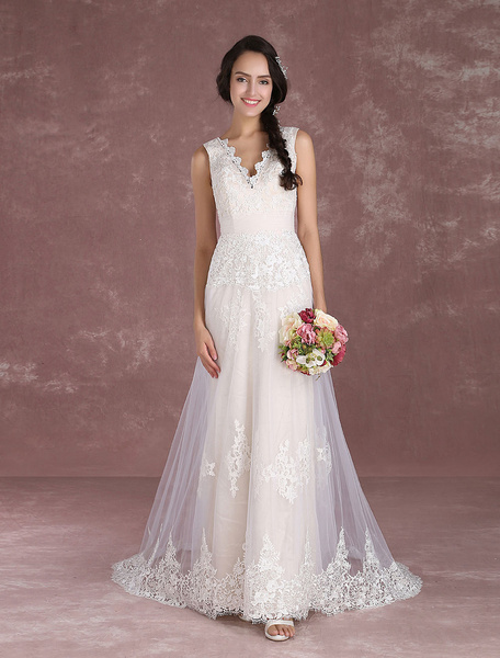 Milanoo Summer Wedding Dresses 2020 Boho Champagne Beach Bridal Dress Lace Applique V Neck Sleeveless Bridal Gown With Train