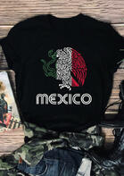 Presale - Mexico Mexican Flag T-Shirt Tee - Black