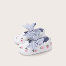 Baby Striped Bow Decor Floral Embroidered Flats