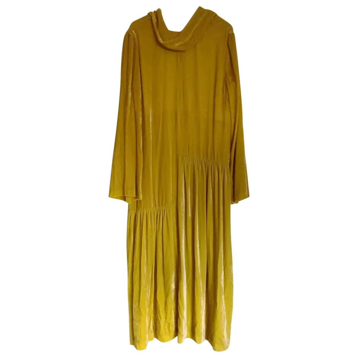 Non Signe / Unsigned Hippie Chic Kleid in  Gelb Samt