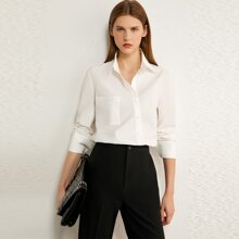 AMII Button Front Solid Blouse