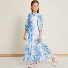 Kleid mit Rueschen, Blumen Muster und Guertel