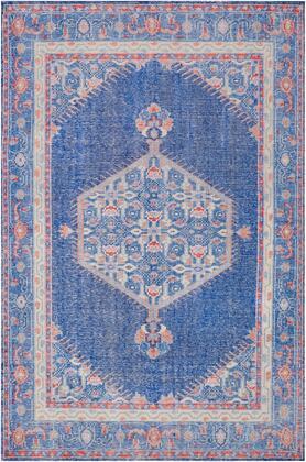 Zahra ZHA-4003 56 x 86 Rectangle Traditional Rugs in Dark Blue  Bright Red  Mauve  Camel  Denim