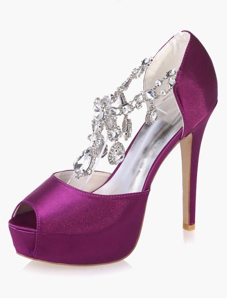 Milanoo Zapatos de novia de saten 12.5cm Zapatos de Fiesta Zapatos azul  de tacon de stiletto Zapatos de boda de punter Peep Toe con pedreria 3cm