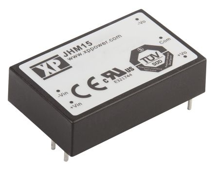 XP Power JHM15 15W Isolated DC-DC Converter Through Hole, Voltage in 9 → 18 V dc, Voltage out 12V dc Medical