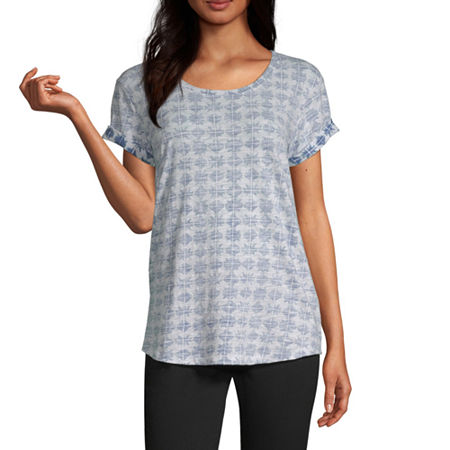 a.n.a-Womens Round Neck Short Sleeve T-Shirt, Large , Blue