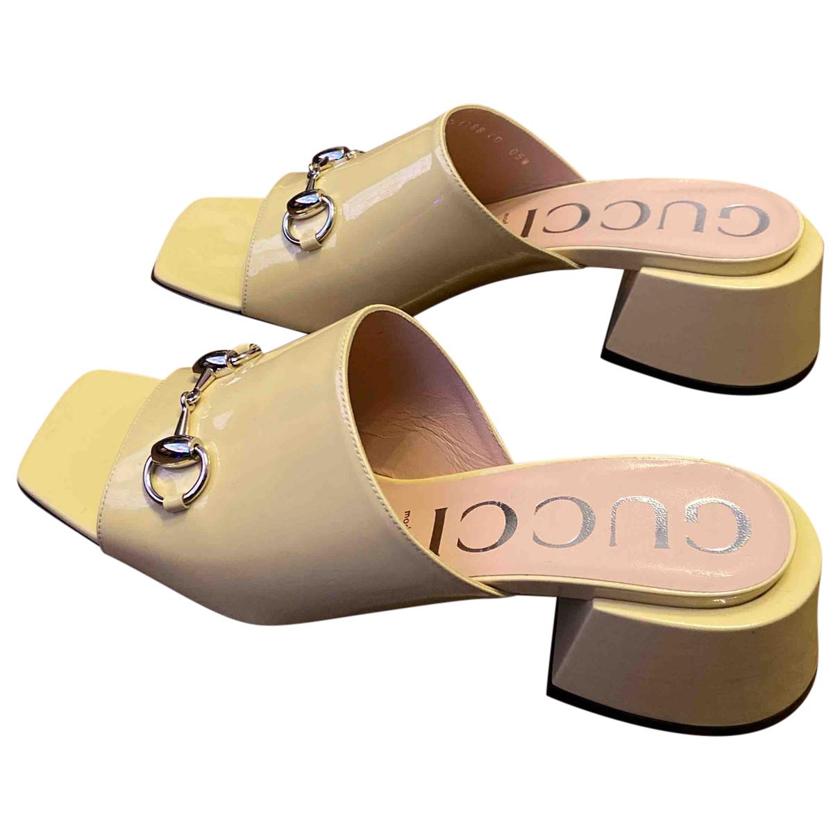 Gucci - Sandales   pour femme en cuir verni - beige