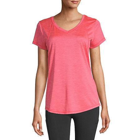 Xersion Womens V Neck Short Sleeve T-Shirt Plus, 4x , Red