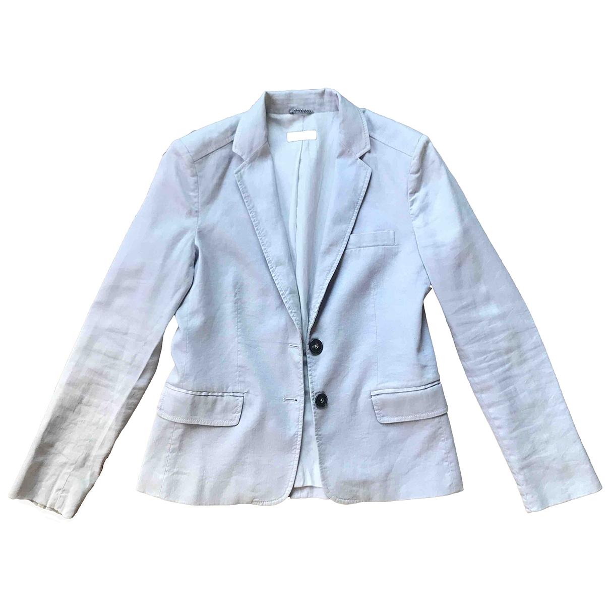 Massimo Dutti - Veste   pour femme en lin - bleu