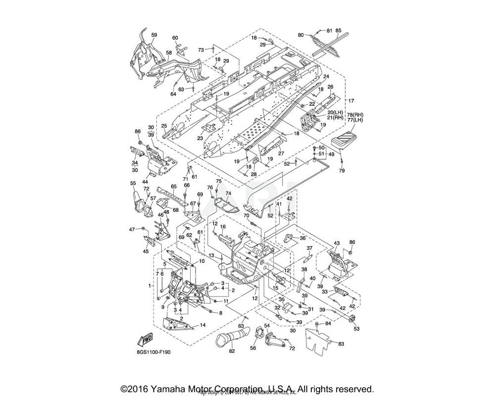 Yamaha OEM 8AC-21943-02-00 BRACKET, MAIN TRACK 1