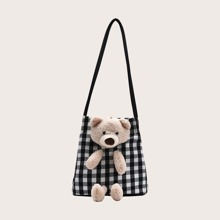 Girls Cartoon Decor Plaid Graphic Bucket Bag