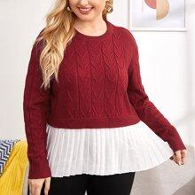 Texturierter Pullover mit Kontrast Falten