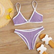 Bikini Badeanzug mit Kontrast Bindung