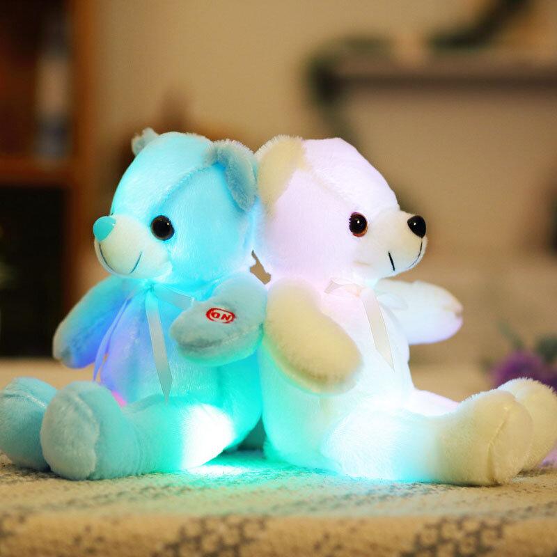 32cm Small LED Light Toys Plush Flashing Bear Toy Luminous Pillow Stuffed Soft Animal Doll