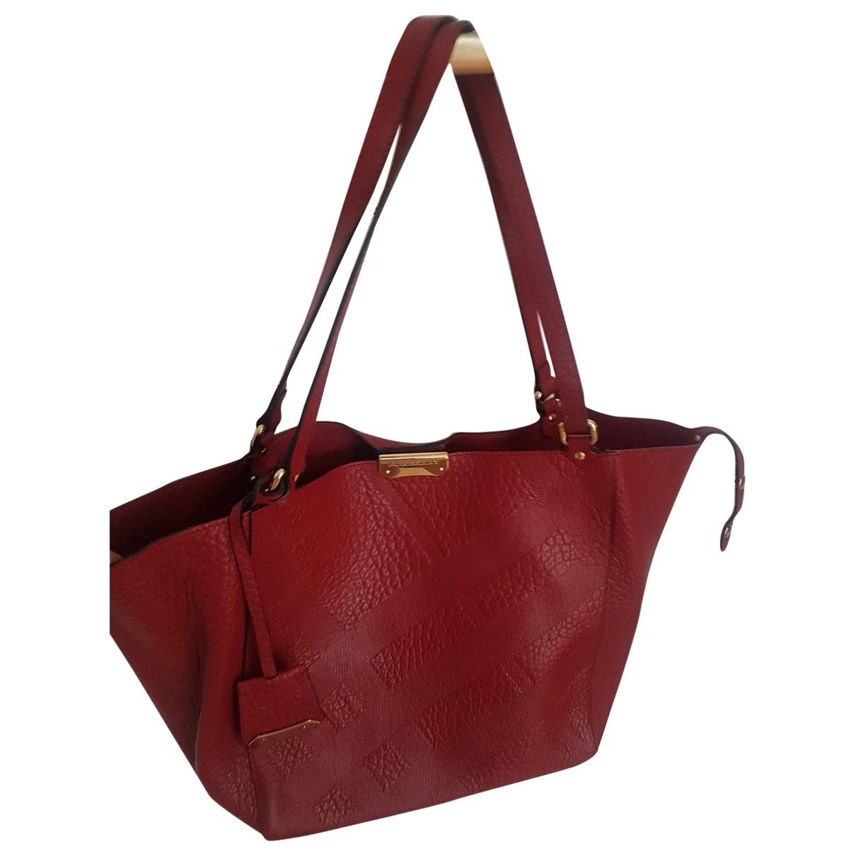 Burberry - Sac a main   pour femme en cuir - rouge