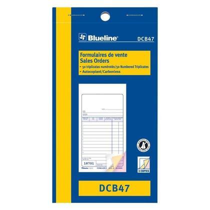 Commandes Blueline@ vente Carbonless Copy - triplicate,3-1/2 x 6-1/2