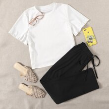 Lettuce Trim Tee With Tie Front Pants