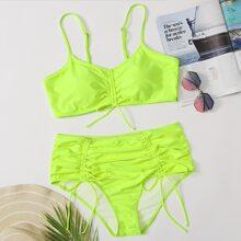 Neon Lime Bikini Badeanzug mit Kordelzug