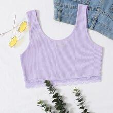 Lace Trim Rib-knit Crop Tank Top